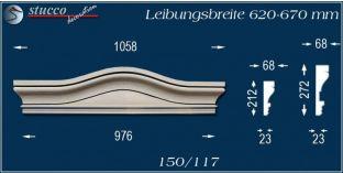 Fassadenelement Bogengiebel Baden 150/117 620-670