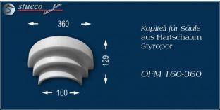 Kapitell-Hälfte für Säule aus Hartschaum Styropor OFM 160/360