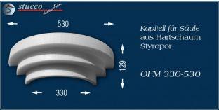 Kapitell-Hälfte für Säule aus Hartschaum Styropor OFM 330/530