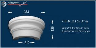 Kapitell-Hälfte für Säule aus Hartschaum Styropor OFK 210/374