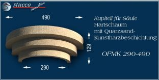 Kapitell-Hälfte für Säule mit Beschichtung OFMK 290/490
