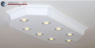 LED Deckenlampe Bayern 10/1000x500-2 mit Stuck und LED Spotlampen