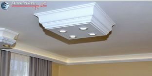 LED Deckenlampe Düren 21/500x500-1 Design Lampen mit Stuck und LED Spots