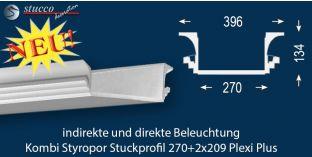 U-Profil für Kombi Beleuchtung Dortmund 270+2x209 PLEXI PLUS