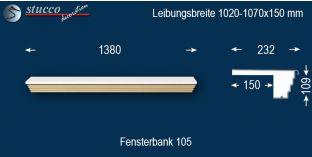 Komplette Fensterbank Ruhland 105 1020-1070-150