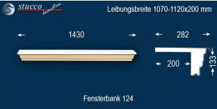 Komplette Fensterbank Freiburg 124 1070-1120-200