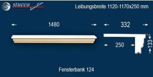Komplette Fensterbank Kiel 124 1120-1170-250