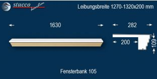 Komplette Fensterbank Berching 105 1270-1320-200
