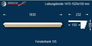 Komplette Fensterbank Mainz 105 1470-1520-150