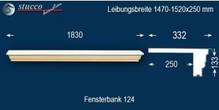 Komplette Fensterbank Hertha 124 1470-1520-250
