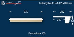 Komplette Fensterbank Chemnitz 105 570-620-200