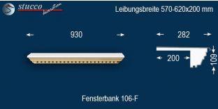 Komplette Fensterbank Egeln 106F 570-620-200
