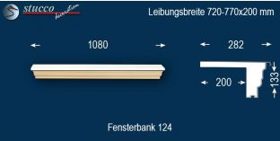 Komplette Fensterbank Stuttgart 124 720-770-200