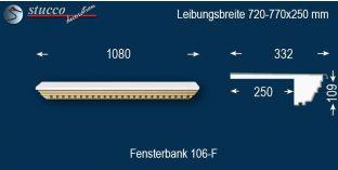 Komplette Fensterbank Bismark 106F 720-770-250