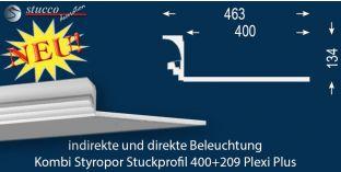 Stuckprofil für Kombi Beleuchtung Dortmund 400+209 PLEXI PLUS