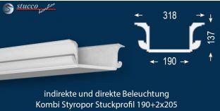 Stuckprofil für Kombi Beleuchtung München 190+2x205