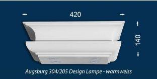 Design Stucklampe Augsburg 304/205 mit warmweißen LED Spots und LED Strip