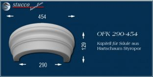 Kapitell-Hälfte für Säule aus Hartschaum Styropor OFK 290/454