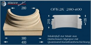Säulenfuss-Hälfte mit Beschichtung OFK-2K 280/400