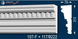 Stoßfestes Gesimsprofil aus Styropor Frankfurt 107-F+117-9222