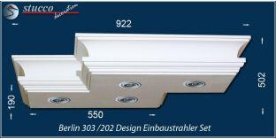 Berlin 303/202 Einbaustrahler Set mit Stuck und LEDs - warmweiss