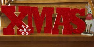 3D Buchstaben XMAS mit Weihnachtsstern aus Styropor