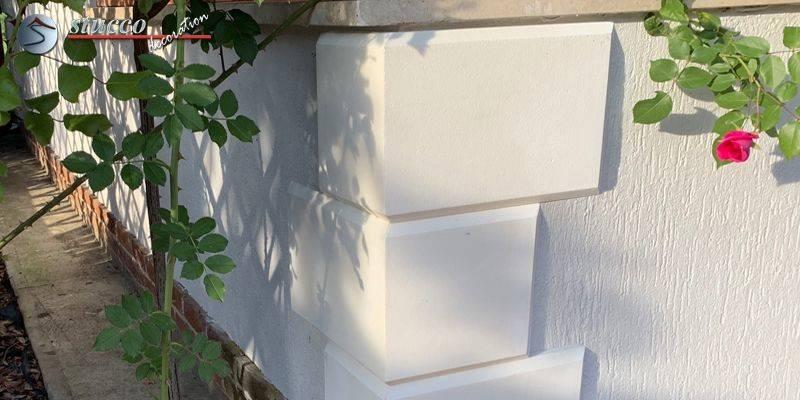 Bossenplatten mit Gehrung für perfekte 90-Grad-Ecken ohne Muster
