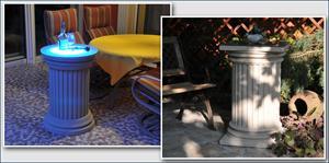 Komplette, beschichtete Dekosäulen für den Außenbereich - mit und ohne LED Beleuchtung