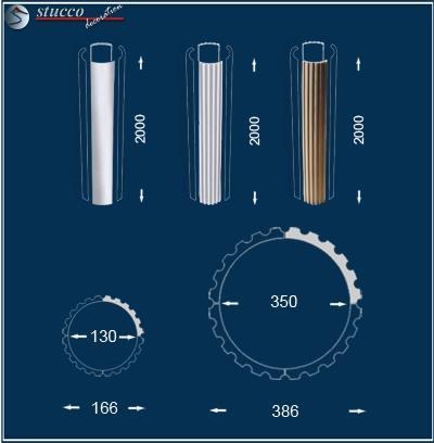 Glatte, kannelierte und beschichtete Säulenverkleidungselemente