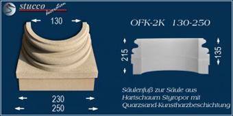Beschichteter Säulenfuß OFK-2K 130/250 mit geschwungenem Stuckmuster und quadratischem Sockel