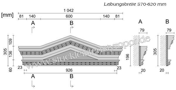 Beispielzeichnung mit Maßen für die kompletten Fassadenelemente Fenstergiebel