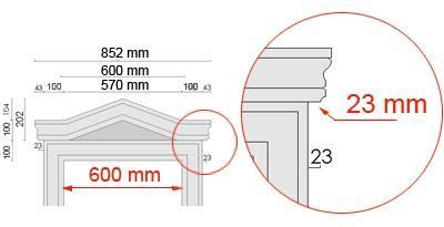 Bemaßte Zeichnung für seitlichen Überstand des Tympanons an Laibungsverkleidung von 23 mmFensterverleibung komplett isoliert und verziert - in einem Arbeitsgang
