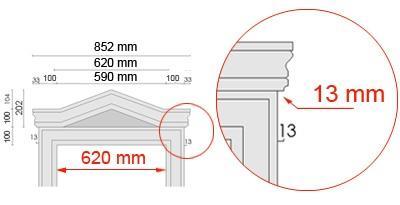 Bemaßte Zeichnung für seitlichen Überstand des Tympanons an Laibungsverkleidung von 13 mm