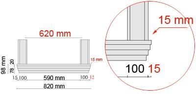 Bemaßte Zeichnung für seitlichen Überstand der Fensterbank 105 an Laibungsverkleidung von 15 mm
