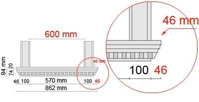 Bemaßte Zeichnung für seitlichen Überstand der Fensterbank 106 an Laibungsverkleidung von 46 mm
