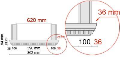 Bemaßte Zeichnung für seitlichen Überstand der Fensterbank 106 an Laibungsverkleidung von 36 mm