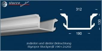 Indirekte Beleuchtung - U-Profil Stuckleiste Essen 190+2x202