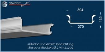 Indirekte Beleuchtung - U-Profil Stuckleiste Essen 270+2x202