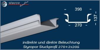 Indirekte Beleuchtung - U-Profil Zierleiste München 270+2x205