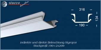 Indirekte Beleuchtung - U-Profil Zierleiste Dortmund 190+2x209