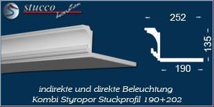 Stuckprofil für direkte und indirekte Beleuchtung Essen 190+202