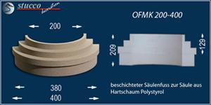Beschichteter Säulenfuß mit Sockel zu Säulen aus Styropor mit Stuckprofil OFMK