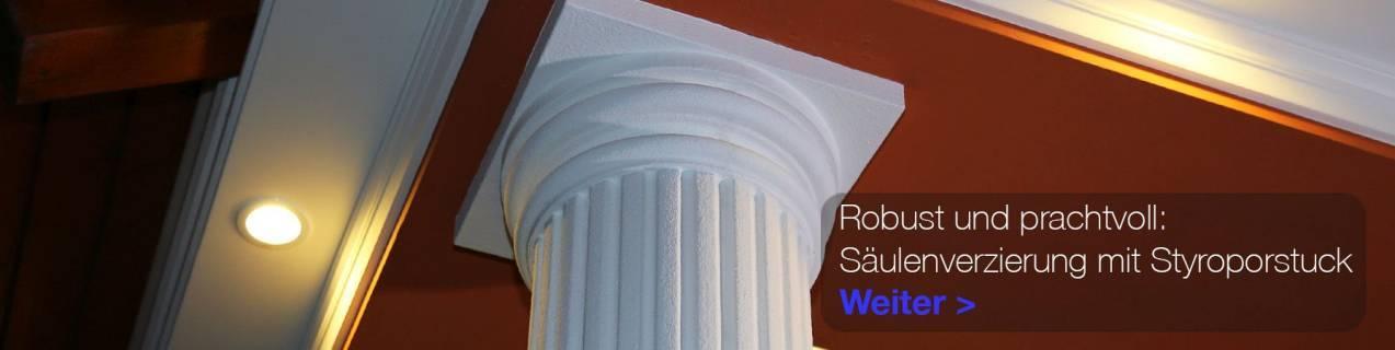 Säulendeko mit Säulenkapitell aus Styropor