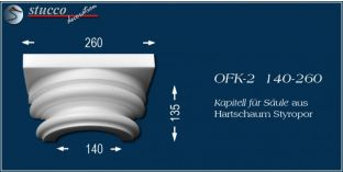 Kapitell-Hälfte für Säule aus Hartschaum Styropor OFK-2 140/260