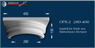 Kapitell-Hälfte für Säule aus Hartschaum Styropor OFK-2 280/400
