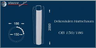 Dekosäulen-Viertel Hartschaum OB 150/186