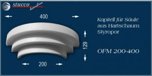 Kapitell-Hälfte für Säule aus Hartschaum Styropor OFM 200/400