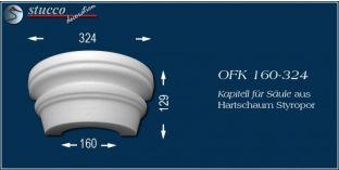 Kapitell-Hälfte für Säule aus Hartschaum Styropor OFK 160/324