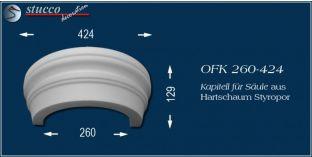 Kapitell-Hälfte für Säule aus Hartschaum Styropor OFK 260/424