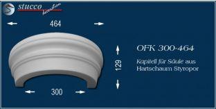 Kapitell-Hälfte für Säule aus Hartschaum Styropor OFK 300/464